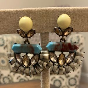Blue and yellow statement earrings